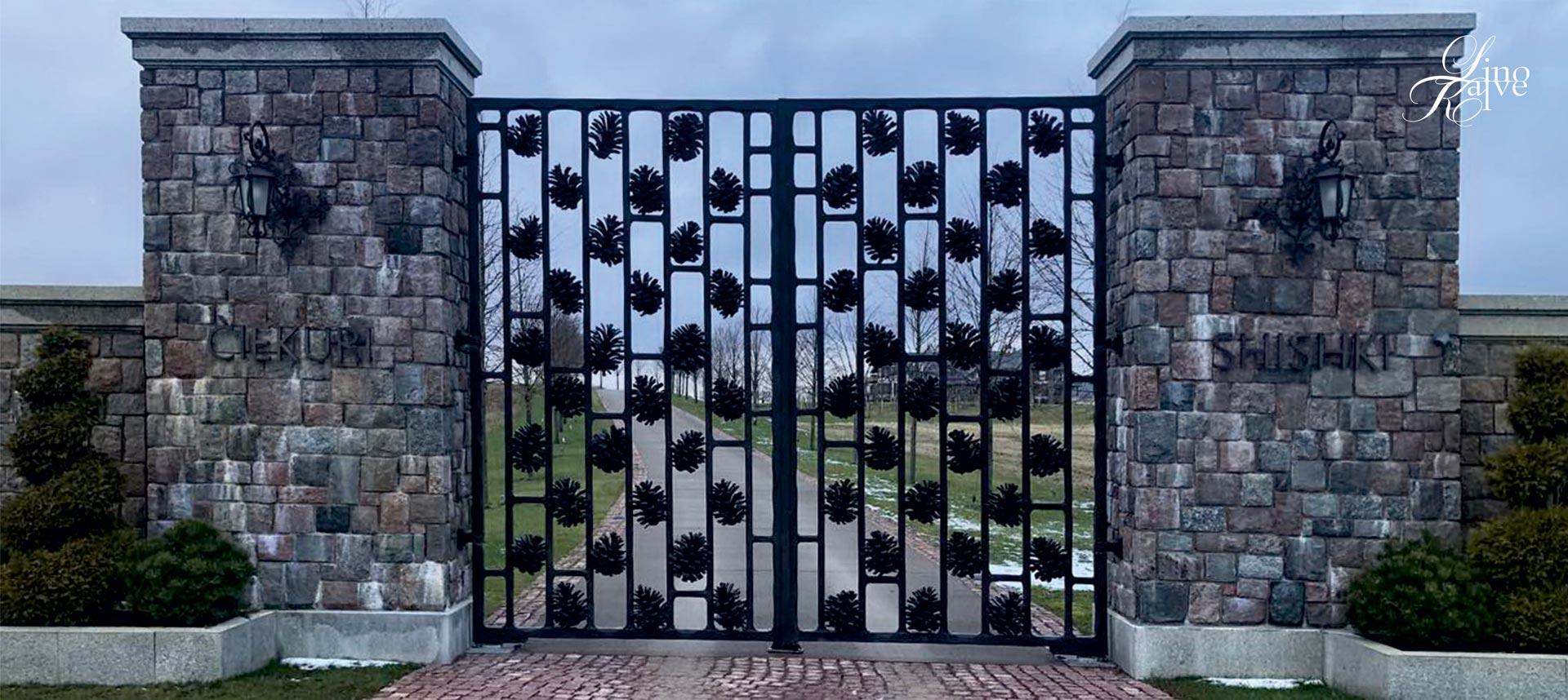 HUNTING LODGE. GATES, AND LIGHTS