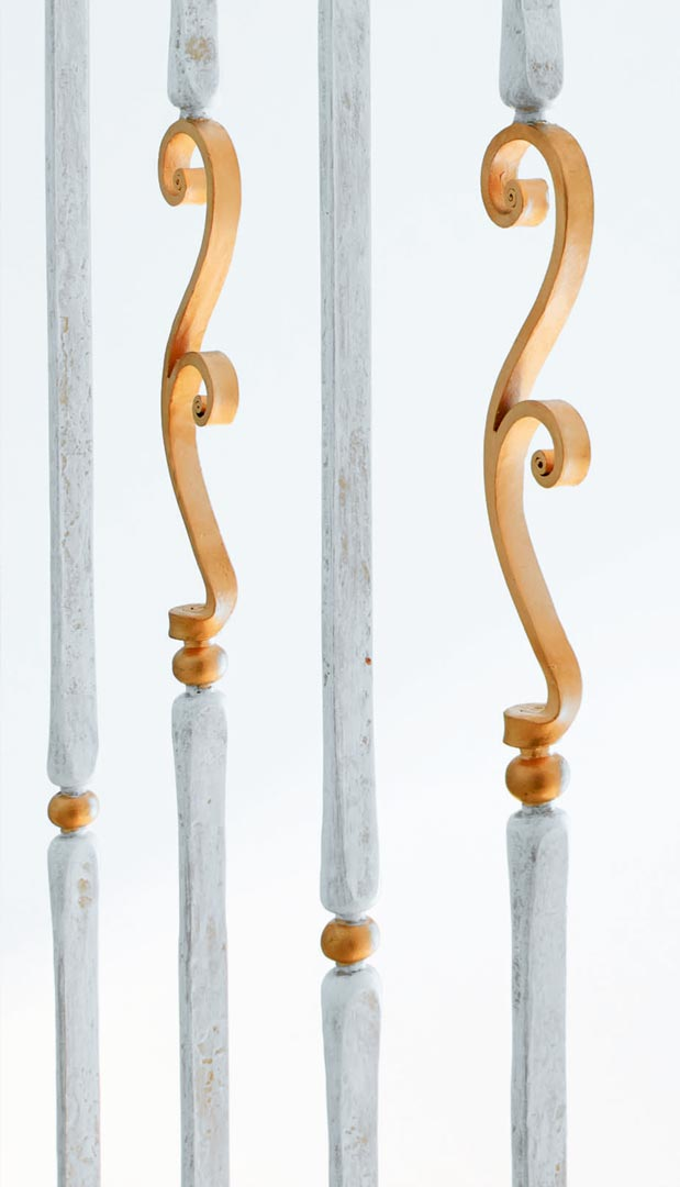 Steel constructions stairs, marble, forged metal, details coates with gold, wood armrest.