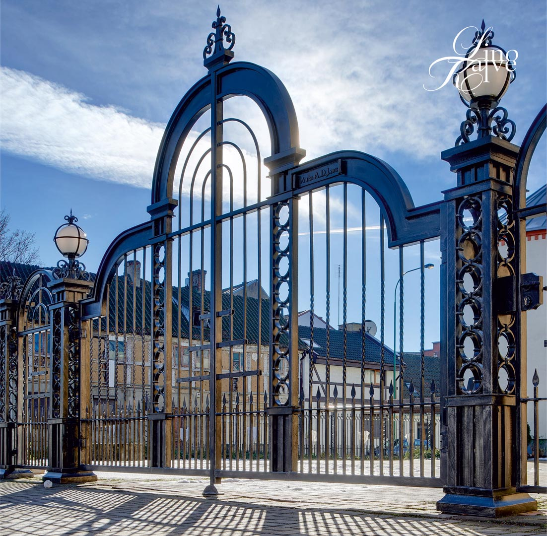 GATES, FENCE, COLUMNS AND LIGHTS.